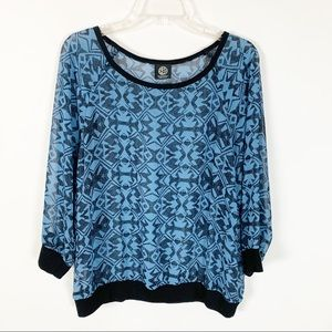 Bobeau Long Sleeve Blue and Black Top Size XL
